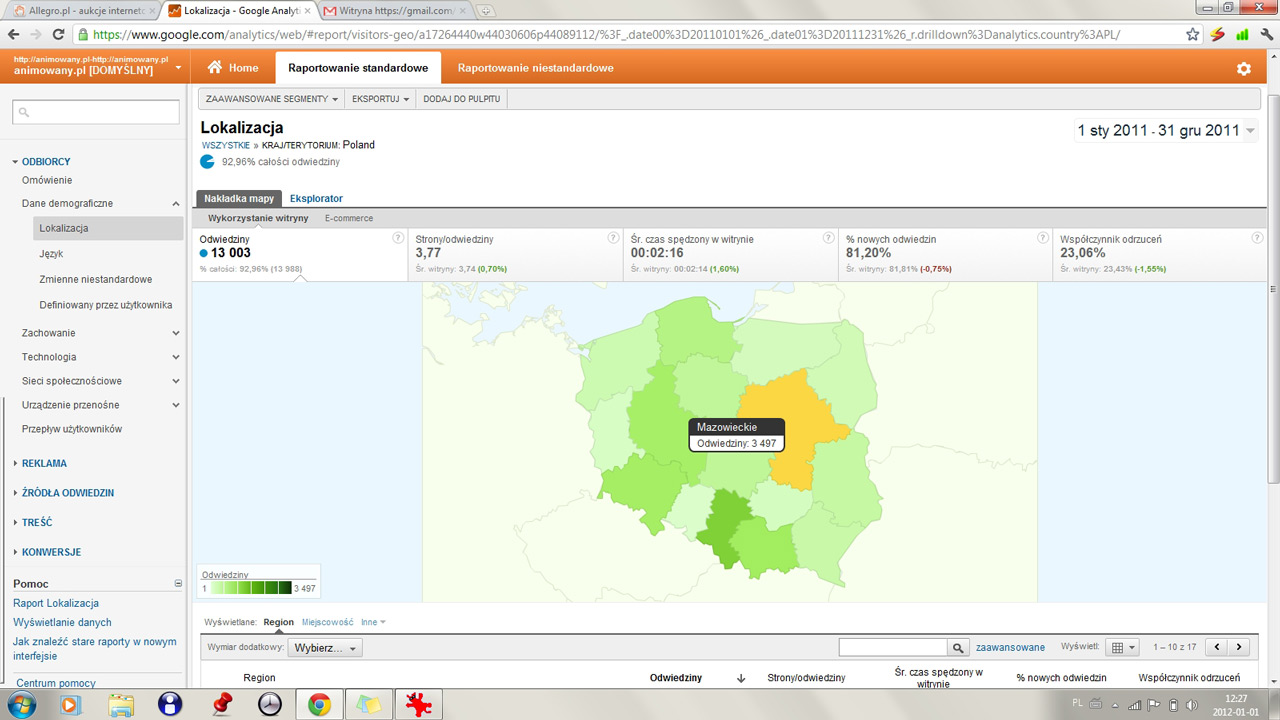 animacje - statystyki 2011 - regionalizacja