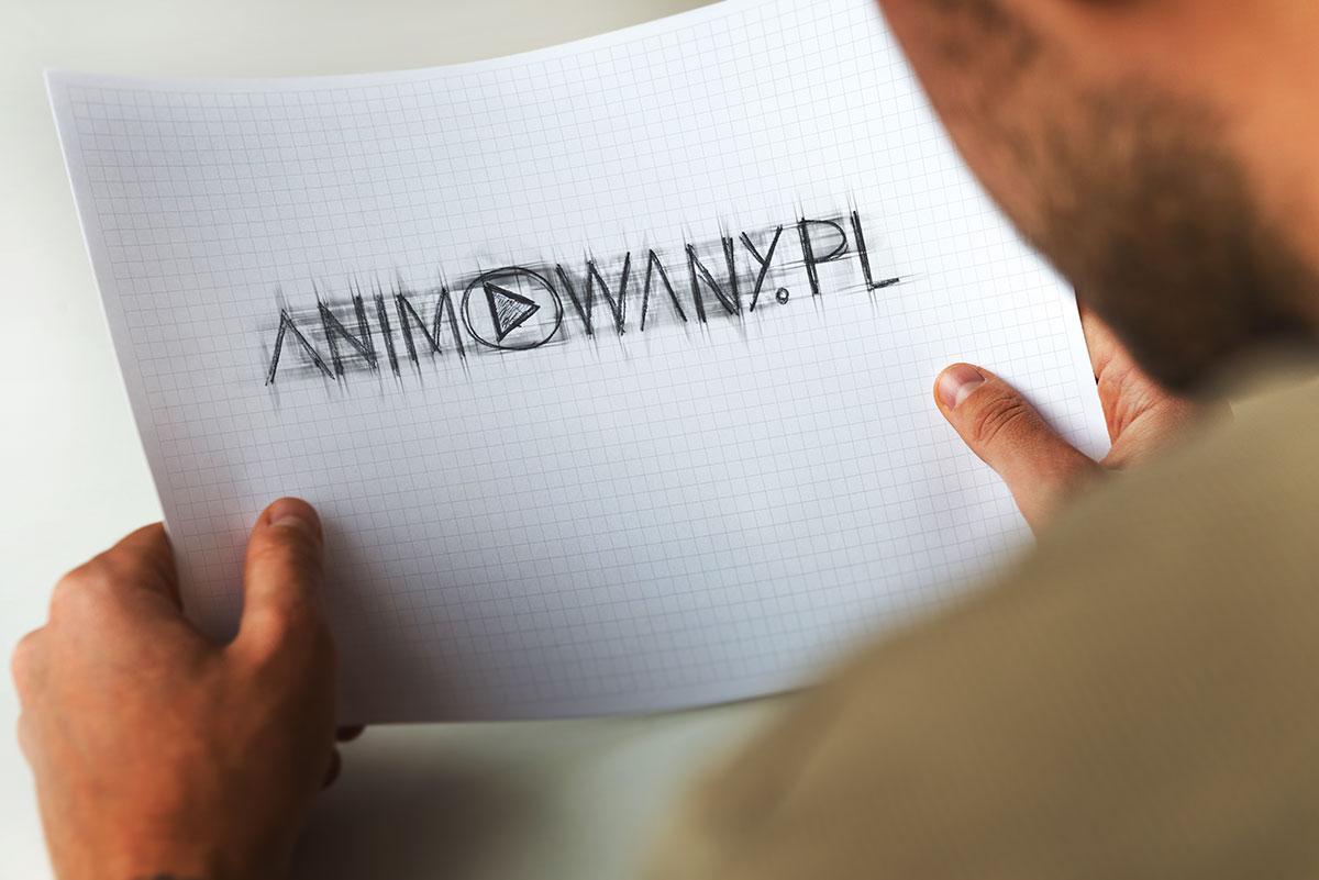 animowany.pl - wizualizacja szkicu logo