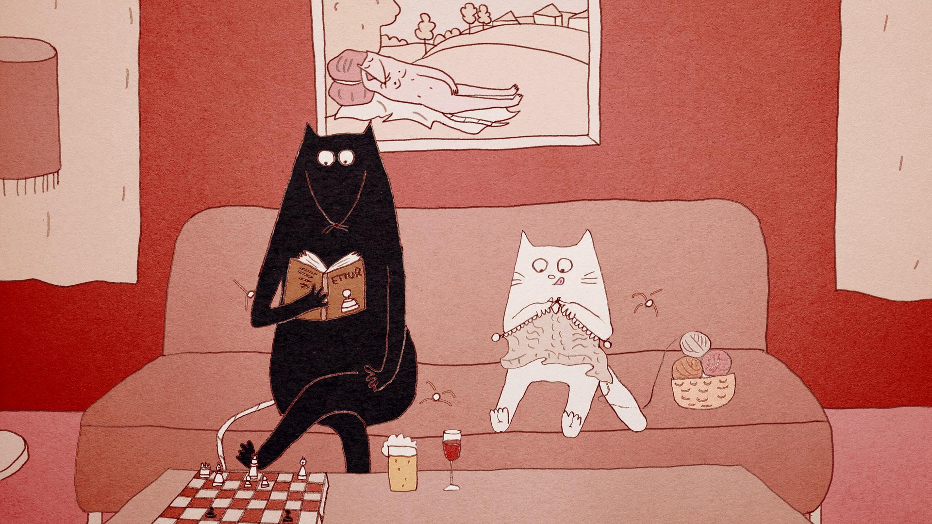 czarny kot kreskówka porno